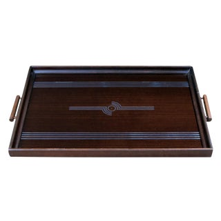 A Chic English Art Deco Mahogany Rectangular Tray With Mirrored Decoration For Sale