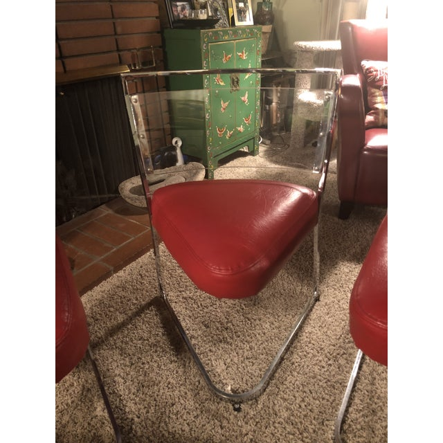 Modern 1970 Vintage Pie Wedge Form Leather/Vinyl Chrome and Lucite Chairs - Set of 6 For Sale - Image 3 of 6