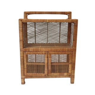 1970s Vintage Rattan Cabinet / Nightstand For Sale