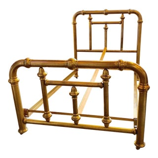 American Victorian Double Brass Bedframe For Sale
