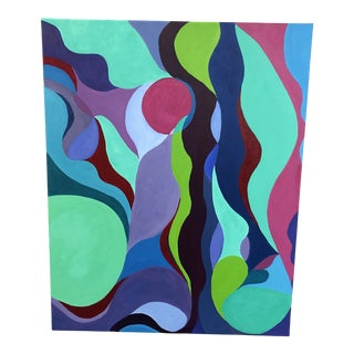 Abstract Original Painting in Fuchsia and Turquoise For Sale