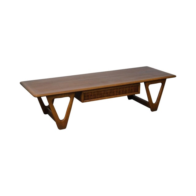 """Lane """"Perspective"""" Mid-Century Walnut V Base Coffee Table For Sale"""