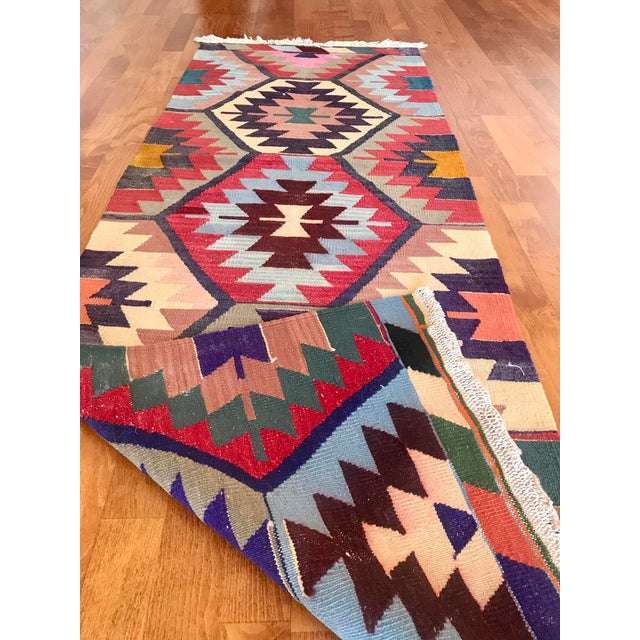 "Vintage Turkish Kilim -2'2"" 6'3"" For Sale - Image 9 of 11"