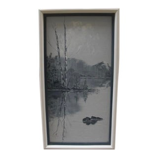 Mid 19th Century Winter Lakeside Landscape Acrylic Painting, Framed For Sale