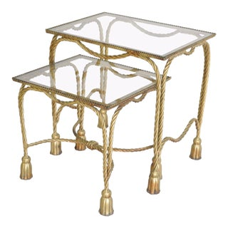 Pair Vintage Italian Hollywood Regency Gilt Metal Rope Tassel Nesting Side Table