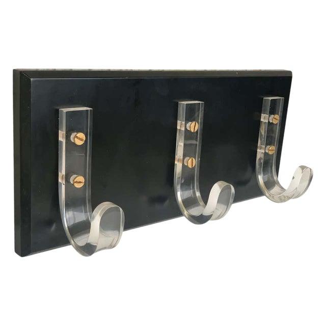 Mid-Century Modern Ebonized Coat Rack With Three Lucite Hangers, 1950, Italy For Sale