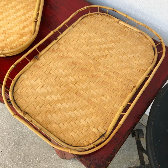 Shabby Chic Vintage Mid Century Rattan Serving Trays - Set of 3 For Sale - Image 3 of 12