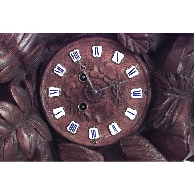 Black Forest 19th Century Continental Rustic Black Forest Walnut Avian Themed Mantel Clock For Sale - Image 3 of 6