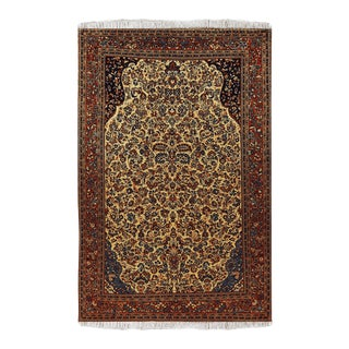 Beige Wool Sarouk Rug- 4′6″ × 7′1″ For Sale