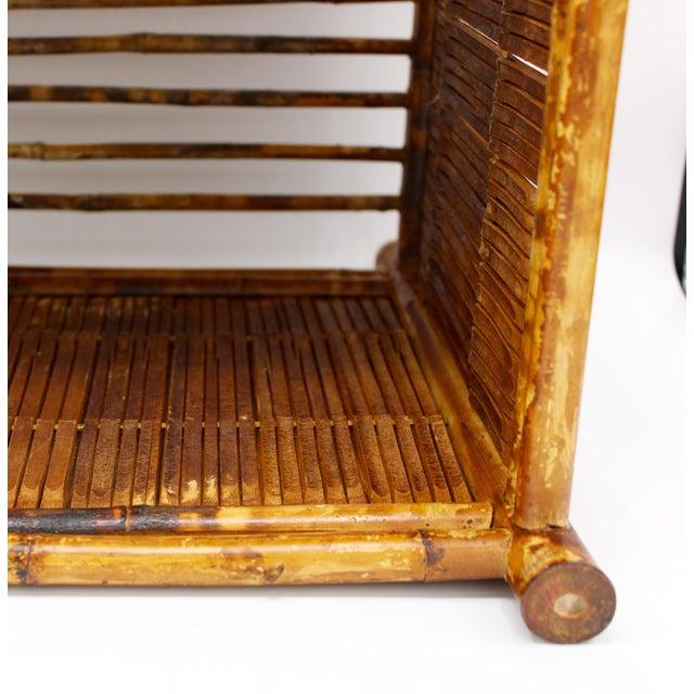 Wood 1960s Vintage Burnt Bamboo Magazine Rack For Sale - Image 7 of 12