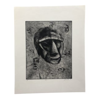 Abstract Portrait Etching & Aquatint by Jon Fasenelli-Cawelti, 1983 For Sale
