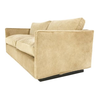 Forsyth Milo Baughman for Thayer Coggin Loveseat Sofa in Palomino Brazilian Cowhide For Sale