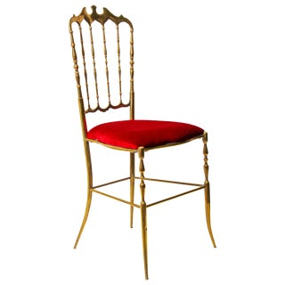 Chiavari Polished Brass Chairs With Red Velvet, Italy, 1960s For Sale