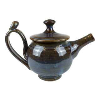Boho Artisan Drip-Glaze Clay Teapot For Sale