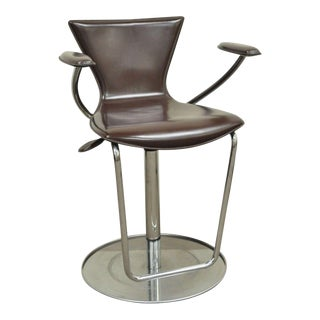 Serico Contemporary Italian Modern Brown Leather Chrome Adjust Bar Stool Chair