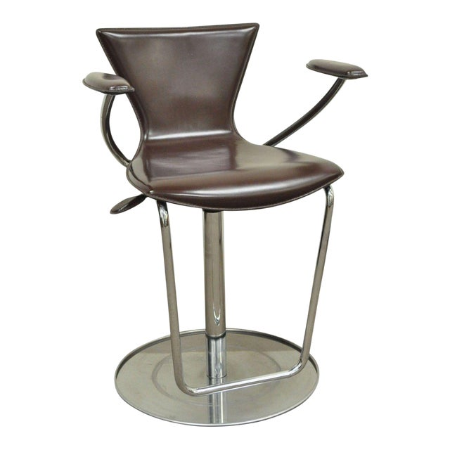 Serico Contemporary Italian Modern Brown Leather Chrome Adjust Bar Stool Chair B For Sale
