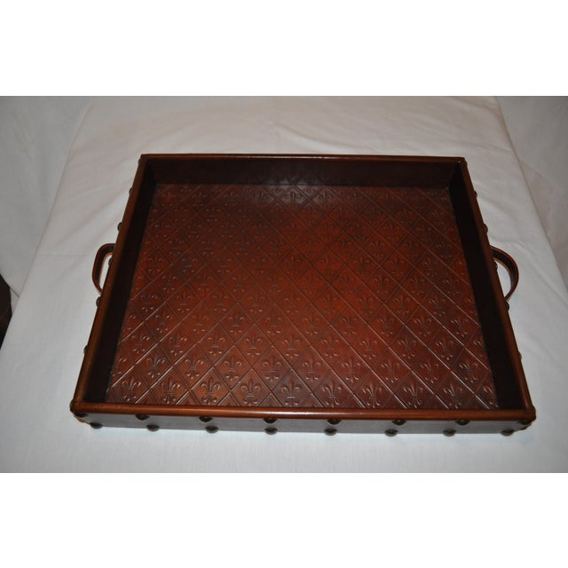 Embossed Leather Tray by Sarreid Ltd. - Image 2 of 6