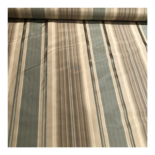 Beige & Celery Silk Stripe Fabric - 4 Yards Available For Sale