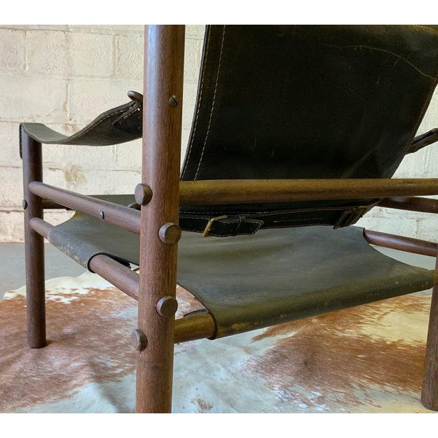Authentic + Rare Mid Century Modern Leather Safari Chair by Arne Norell, Made in Sweden For Sale - Image 10 of 11