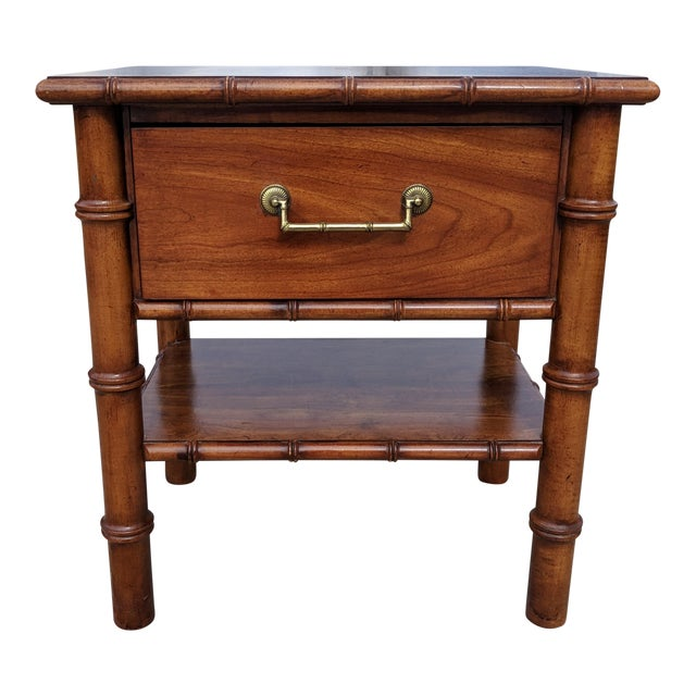 Vintage Drexel Faux Bamboo Wooden Nightstand For Sale