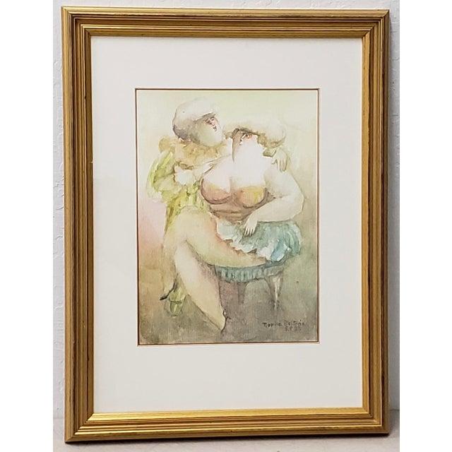 "Watercolor Norha Beltran (Bolivia, 20th C.) ""Two Women"" Original Watercolor C.1980s For Sale - Image 7 of 7"