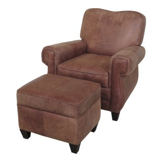 1990s Vintage Leather Chair & Matching Ottoman For Sale