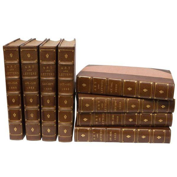 """Eight Volume Set of Leather Bound Books Titled """"Art and Letters"""" From the 19th Century For Sale - Image 9 of 9"""