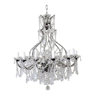 Antique Reproduction Italian Chandelier With Beaded Arms and Rock Style Crystals For Sale