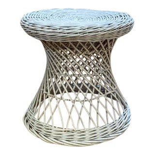 Mid Century Wicker Side Table in White For Sale