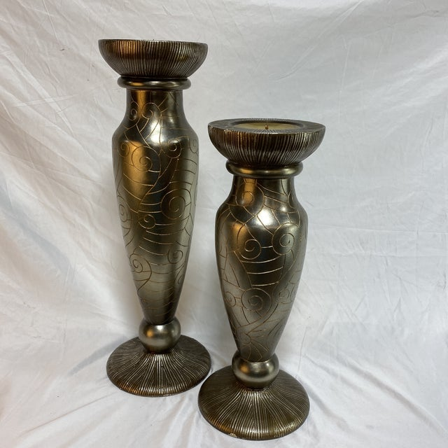 Silver Leaf Artmax Candlesticks - a Pair For Sale - Image 12 of 12