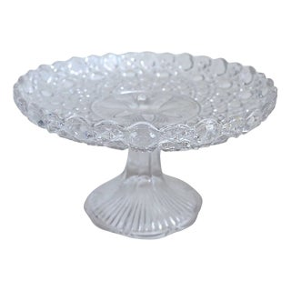 1920s English Glass Pedestal Cake Stand For Sale