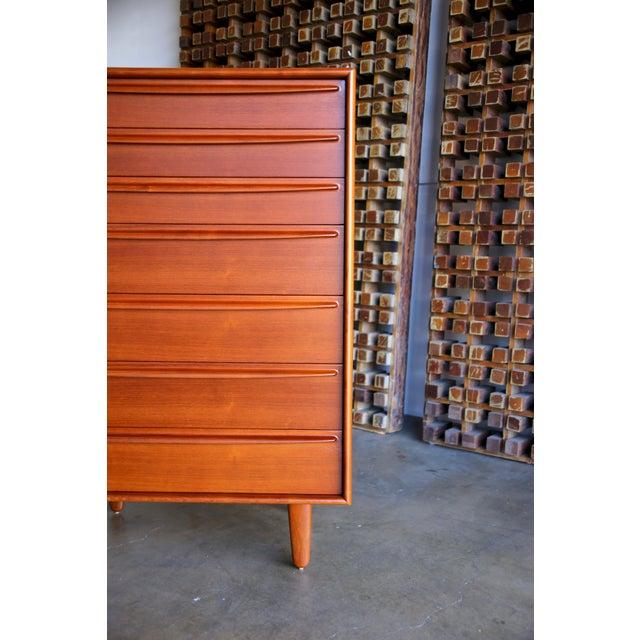 Teak Mid Century Danish Modern Svend Aage Madsen for Falster Mobelfabrik Teak Highboy Dresser For Sale - Image 7 of 9