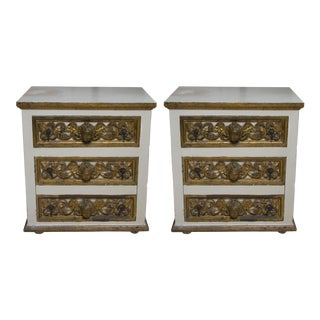 Pair of Italian White and Parcel-Gilt Chests