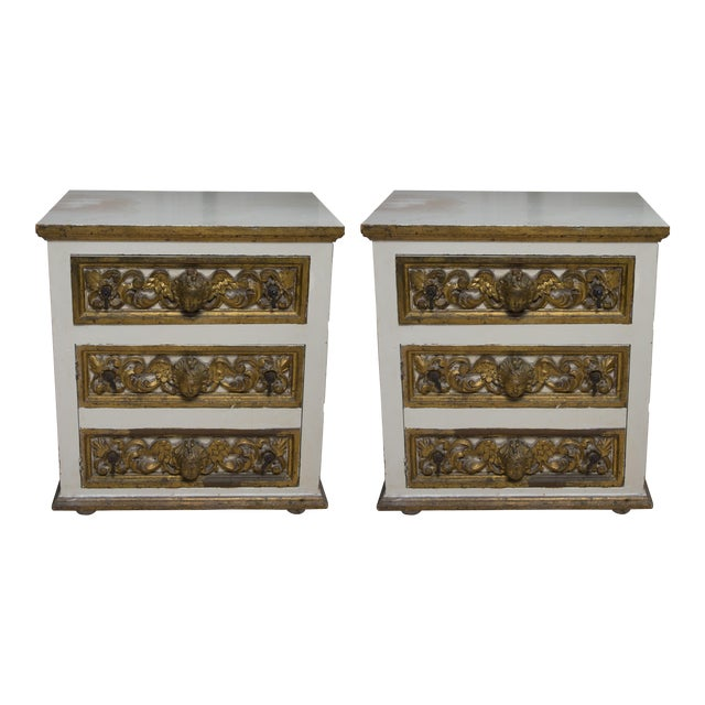 Pair of Italian White and Parcel-Gilt Chests For Sale