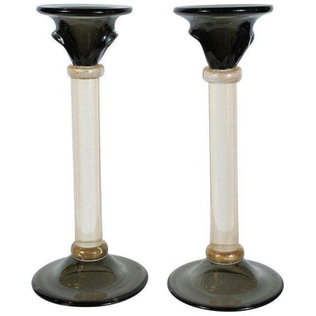 Modernist Handblown Murano Smoked Glass Candlesticks With 24-Karat Gold - a Pair For Sale - Image 12 of 12