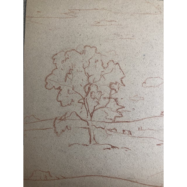 Americana 1930s Vintage Eliot Clark Impressionist Inspired Plein Air Landscape Drawing For Sale - Image 3 of 6