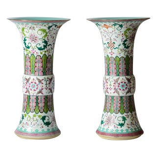 "Chinese Export Famille Rose Zun Shape Vases, 22"" H, A-Pair For Sale"