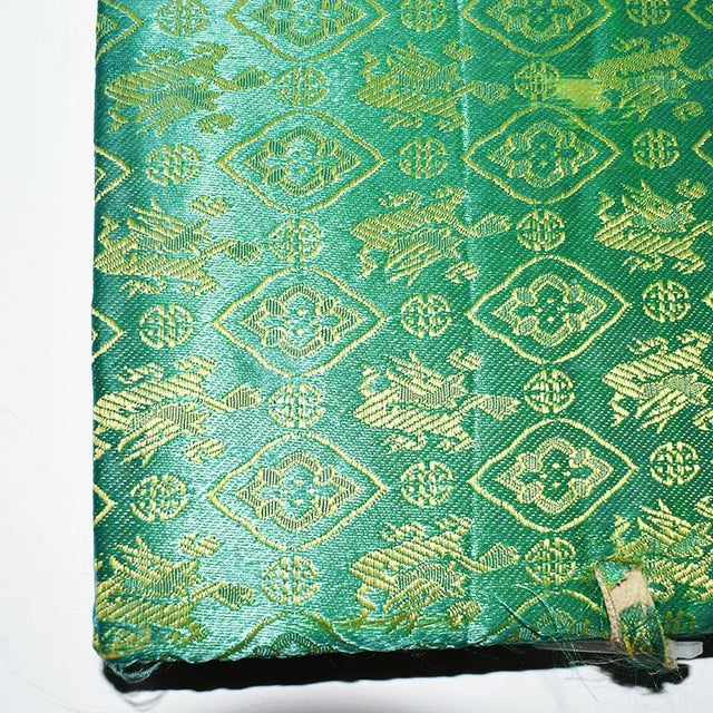 Mid 20th Century Mahjong Game Set in Green Satin Brocade Carrying Case and Green Back Tiles For Sale - Image 4 of 7