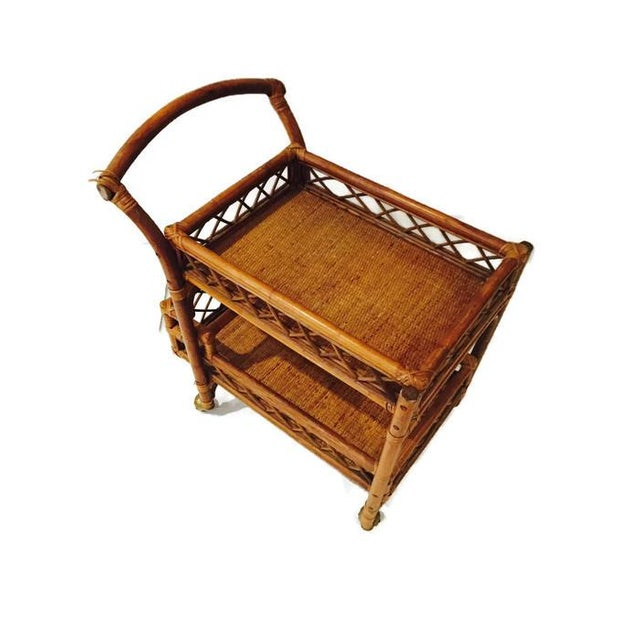 Mid-Century Bamboo & Cane Bar Cart 2 Tier - Image 4 of 8