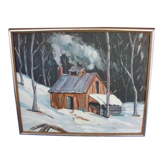 Late 20th Century Vintage Tubey Winter Scene With Cabin Oil on Board Painting For Sale