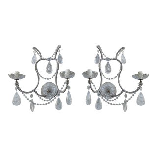 Rock Crystal Two-Light Sconces - A Pair