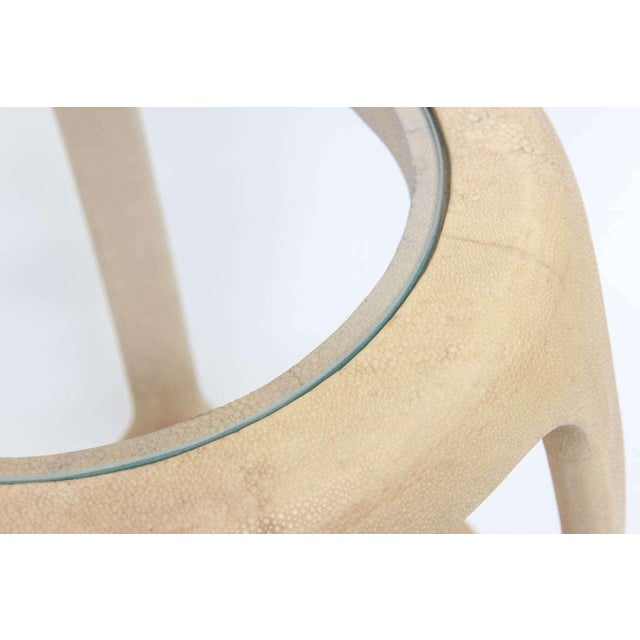 Tan Pair of American Modern Shagreen and Glass Side Tables by Maitland-Smith For Sale - Image 8 of 9