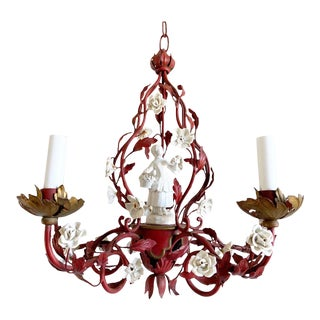1950s Italian Red Tole & Porcelain Chandelier For Sale