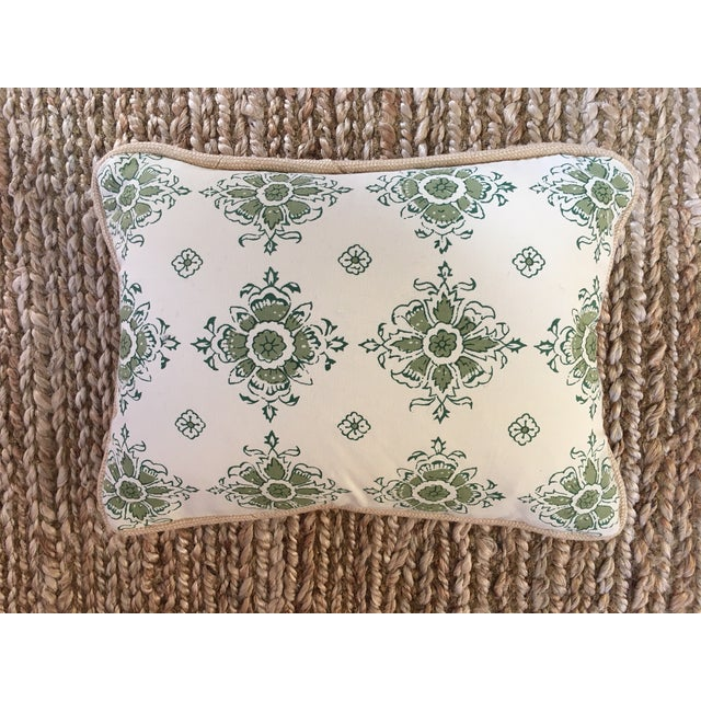 2010s Green/Blue Block Printed Flower Lumbar Pillow For Sale - Image 5 of 5