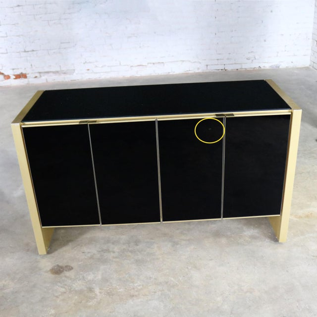 Ello Black Glass and Gold Anodized Aluminum Small Server Credenza Cabinet For Sale - Image 11 of 13