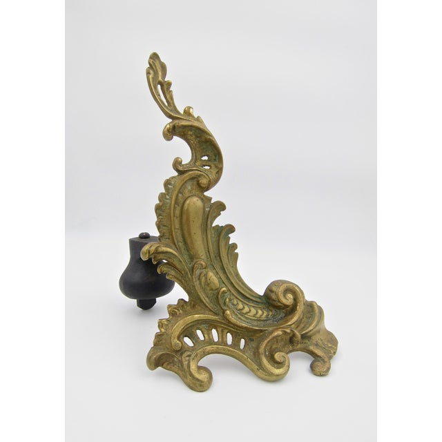 Antique Louis XV Style Pair of Fireplace Chenets or Andirons For Sale In Los Angeles - Image 6 of 10