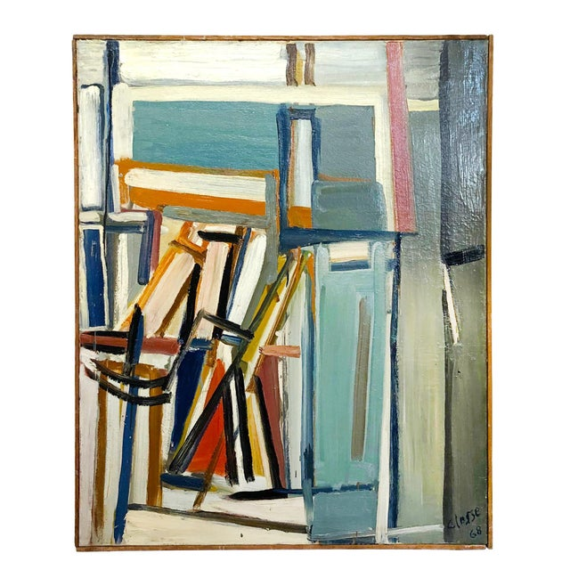 """Late 20th Century 20th Century """"Jeu D'espaces"""" Books on Canvas Painting by Daniel Clesse For Sale - Image 5 of 5"""