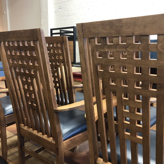Stickley Furniture Metropolitan Collection Lattice Back + Leather Armchairs- Set of Six For Sale In San Francisco - Image 6 of 13