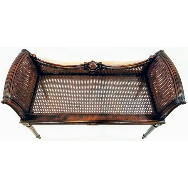 Antique Carved and Caned Window Settee With Neoclassic Motifs For Sale - Image 4 of 10