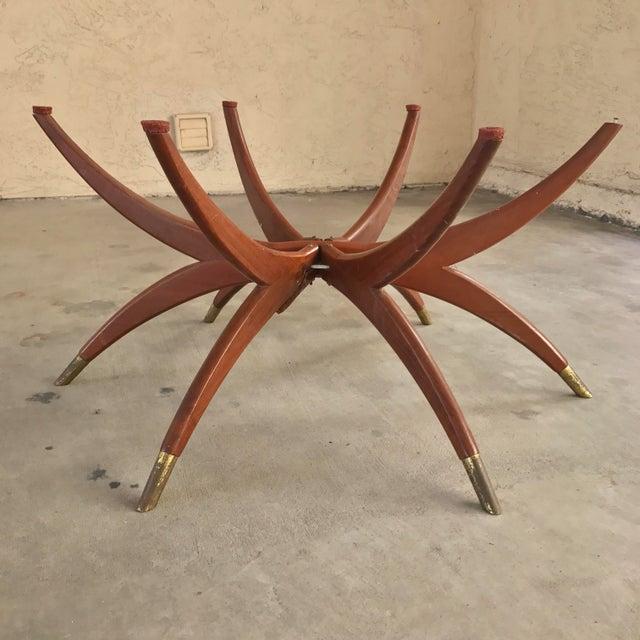 Mid Century Modern Oval Teak Spider Coffee Table Base - Image 2 of 9